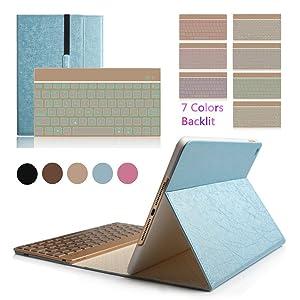 BoriYuan Smart Backlit Aluminium Detachable Wireless Bluetooth Keyboard Folio Stand PU Leather Cover For Apple iPad Air 2