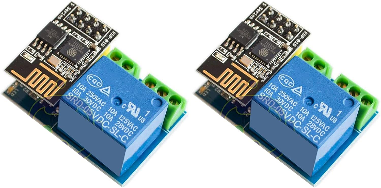 DEVMO 2PCS ESP8266 ESP-01S Wireless WiFi Transceiver Relay Module Compatible with Arduino Smart Home Remote Control Unlock Set
