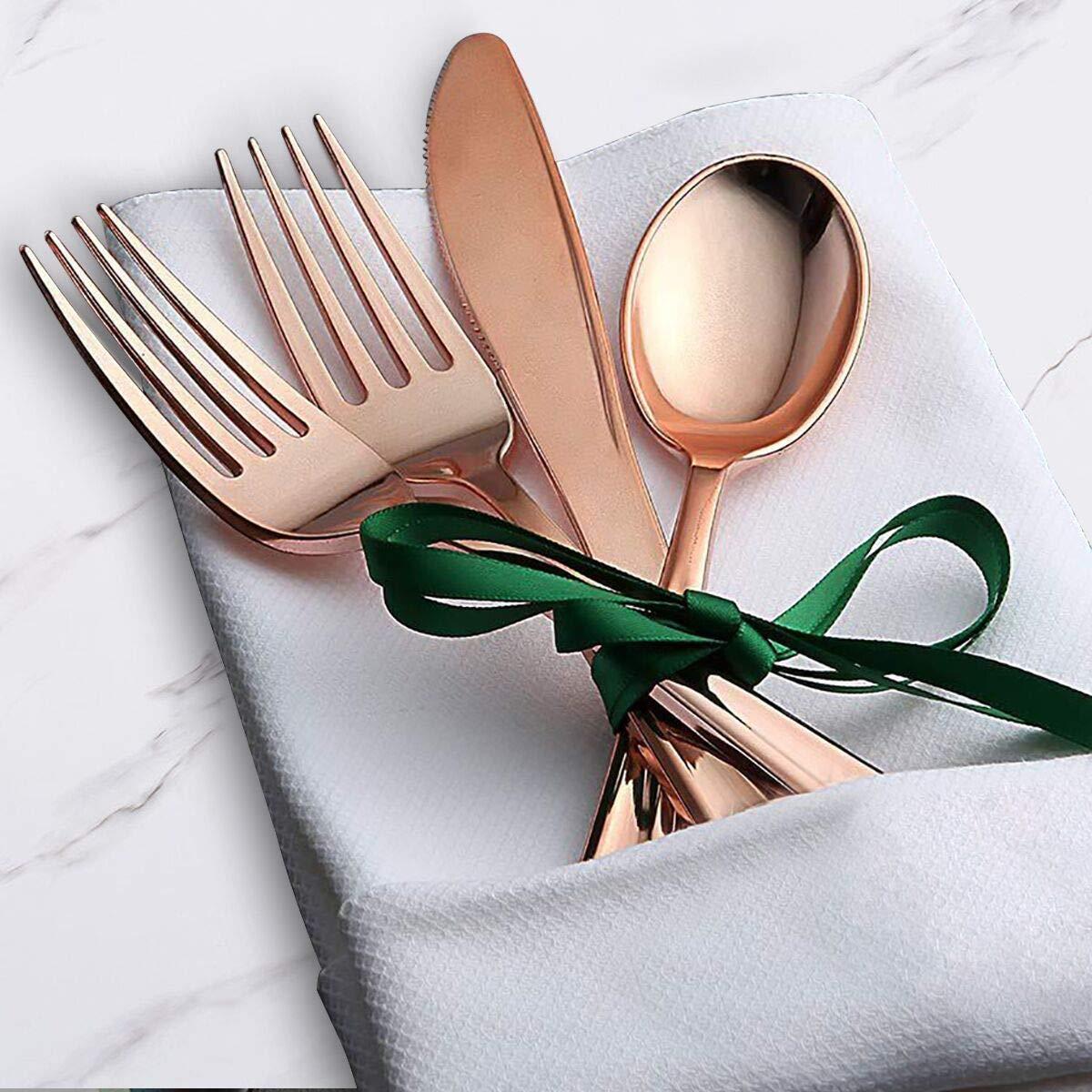 20 tasses dentelle 20 assiettes /à dessert Vaisselle en plastique 20 invit/és en or rose 40 fourchettes 20 couteaux 20 assiettes /à d/îner 20 serviettes 20 cuill/ères