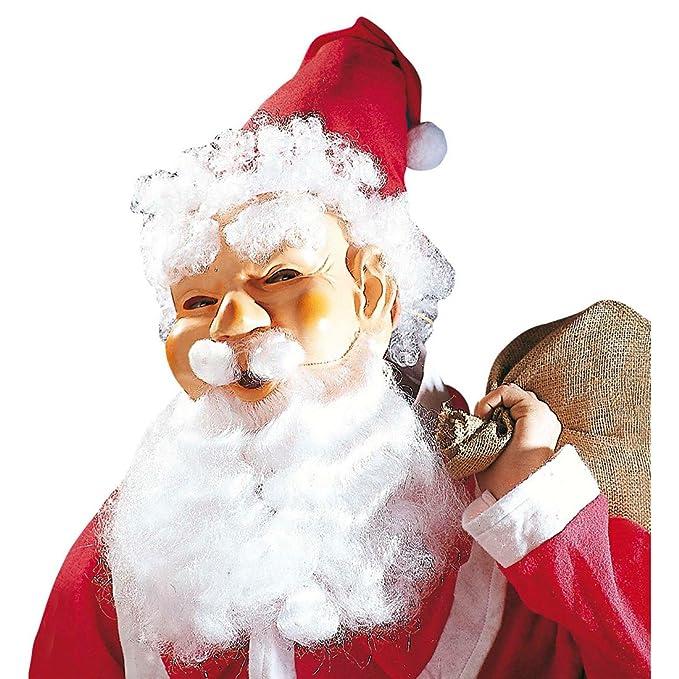 Weihnachtsmann Masken Set Maske Mütze Perücke Augenbrauen Bart Schnurrbart Santa