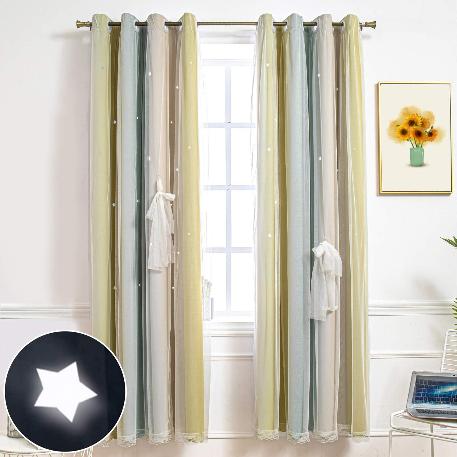 Hughapy Star Curtains Stars Blackout Curtains for Kids Girls Bedroom Living Room Colorful Double Layer Star Cut Out Stripe Window Curtains, 1 Panel -( 52W x 63L, Yellow / Green)