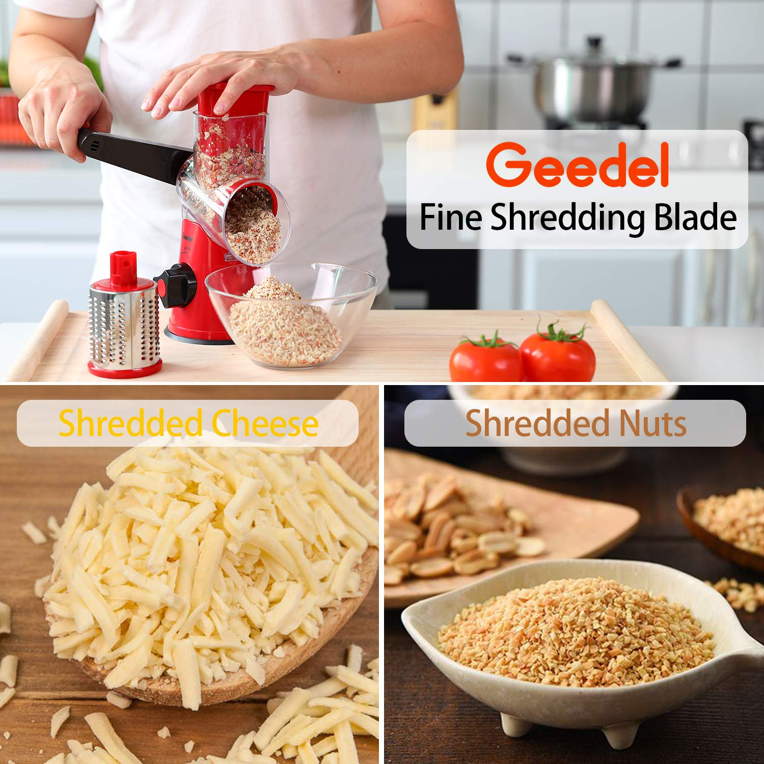 Vegetables Easy to Clean Rotary Grater Slicer for Fruit Geedel Rotary Cheese Grater Kitchen Mandoline Vegetable Slicer with 3 Interchangeable Blades Nuts /…