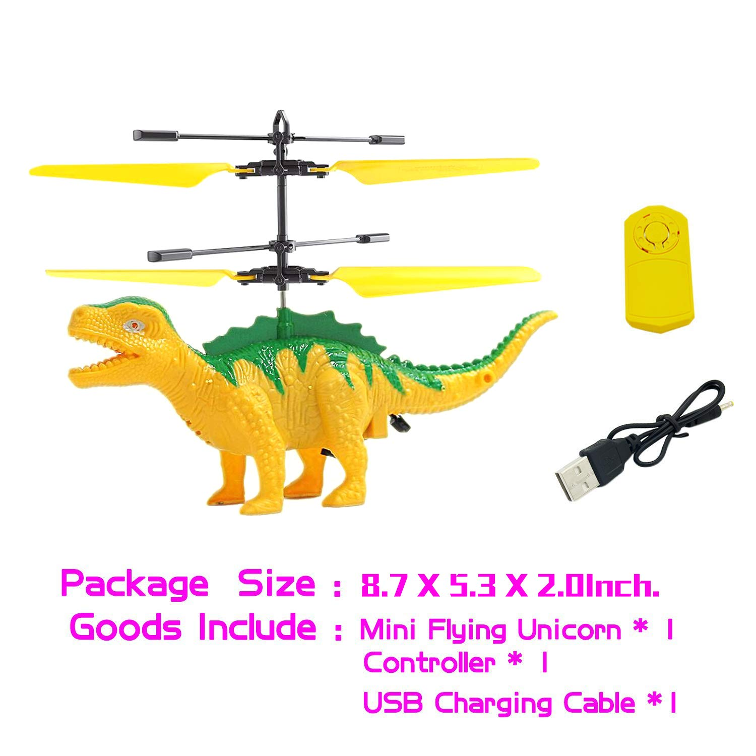 Anda RC Flying Helicopter Dinosaurs Dragon Toys for 6 Year Old Boys Girls Kids, Mini Remote and Hand Controlled Dinosaurs Helicopter for Birthday Holiday Xmas by Anda (Image #5)