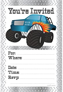 Amazon monster jam party supplies invitations 8 toys games monster truck birthday party invitations fill in style 20 count with envelopes by filmwisefo Gallery