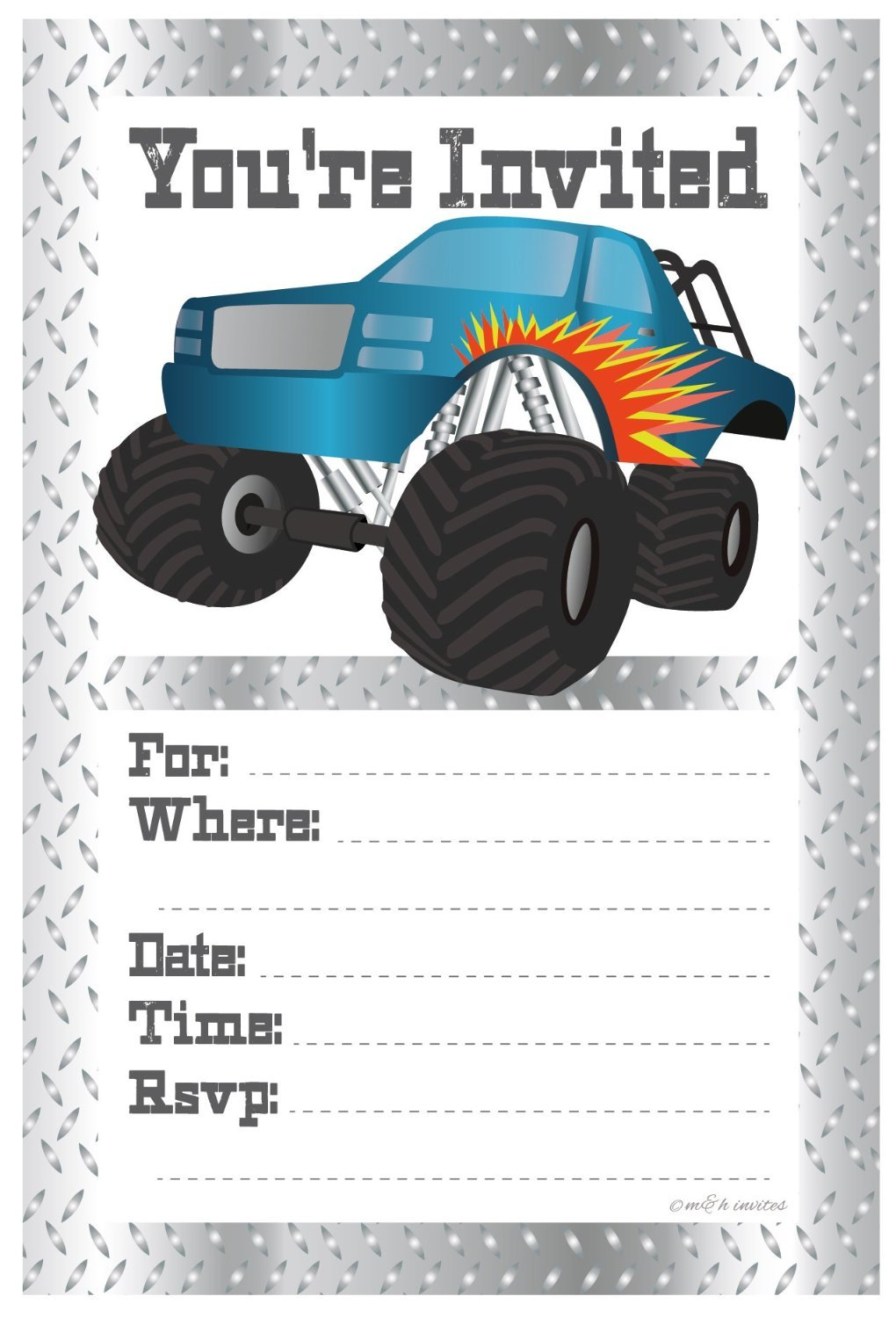 Amazon.com: Monster Truck Birthday Party Invitations - Fill In Style ...