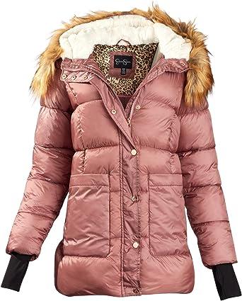 Jessica Simpson Big Girls Heavyweight Puffer Jacket with Metalic Zipper and Faux Fur Collar