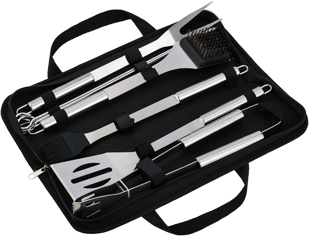 SKYSPER BBQ Set Barbecue Tool Grill Cooking Utensil Kits Stainless Steel Skewers Brush Fork Shovel BBQ Tong for Outdoor Picnic Camping Party