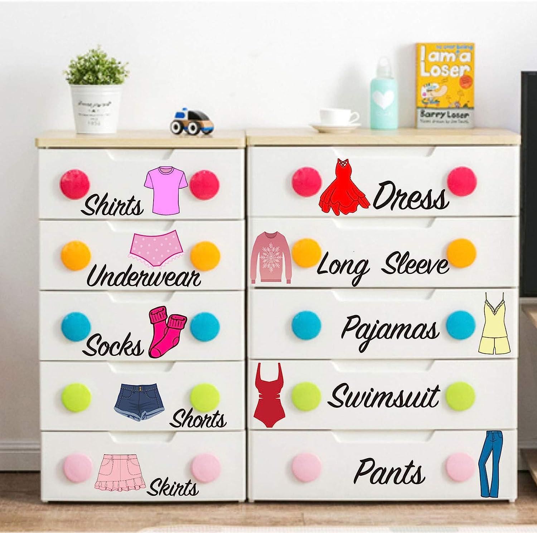 Dresser Clothing Decal Girl Dresser Labels for Bedroom Decor Drawer Organizing Stickers