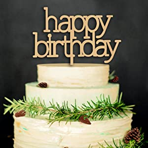 Happy Brithday Cake Topper Decor Adult Birthday Party Rustic Wood Decoration Supply