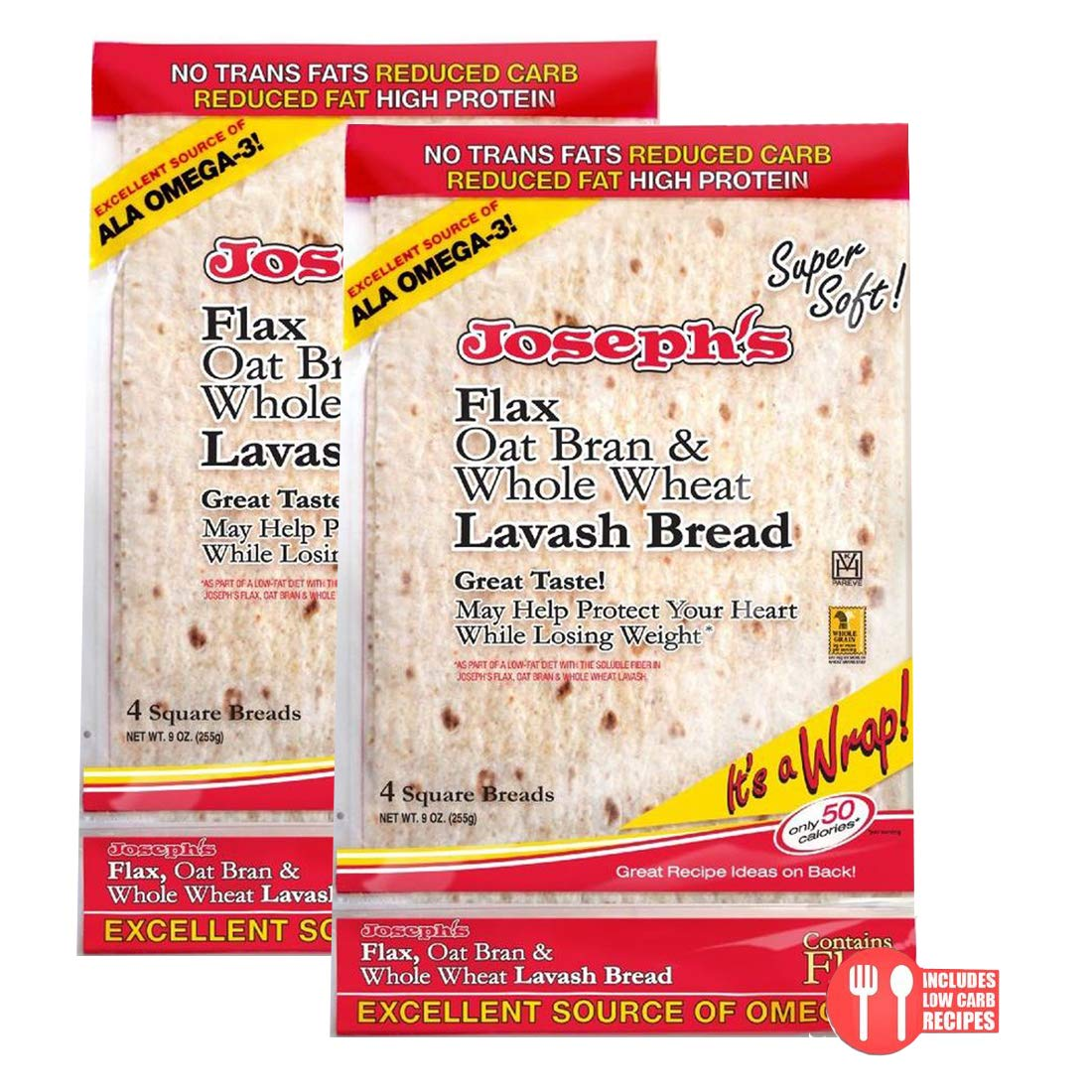 2 Pack Value: Joseph's Lavash Bread Flax Oat Bran & Whole Wheat Reduced Carb, 8 Squares