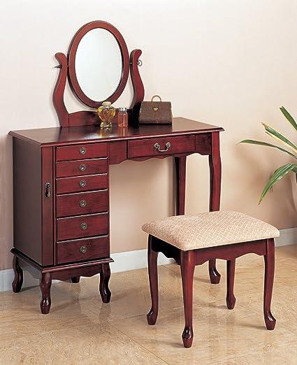 Amazon Com Cherry Vanity With Table Bench Set Makeup Make Up