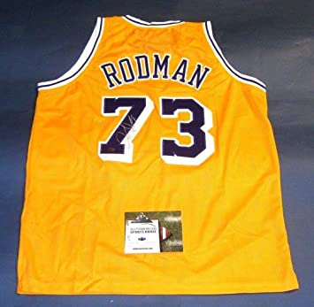 DENNIS RODMAN AUTOGRAPHED LOS ANGELES LAKERS JERSEY AASH at Amazon s ... f507e44fb