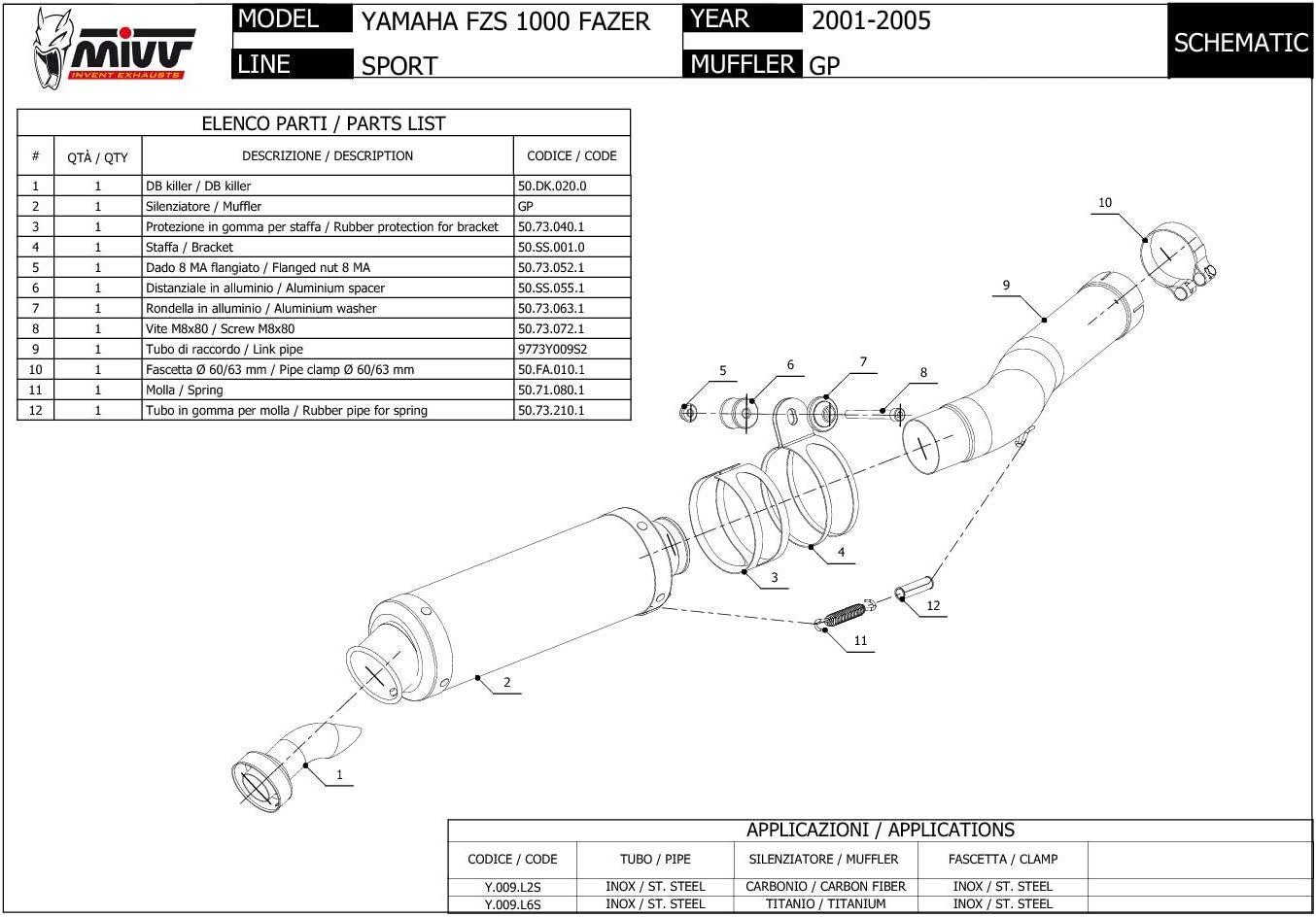 New Y.009.LXB Pot D Echappament MIVV GP Noir Inox pour Fzs 1000 Fazer 2002 02