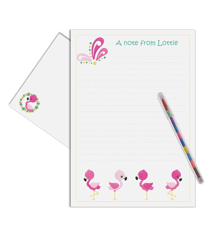 Flamingo Personalised Childrens Stationery Letter Writing Set Amazoncouk Handmade
