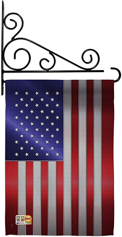 Amazon Com Nationality Steel Of Pride American Flag Garden Set Wall Holder Regional Country Particular Area Small Decorative Gift Yard House Banner Double Sided Made In Usa 13 X 18 5 Garden Outdoor