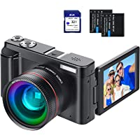 "Digital Vlogging Camera YouTube Vlog Camera HD 1080P 30FPS 24MP Camcorder with 3.0"" IPS Flip Screen, WiFi Function, Wide…"