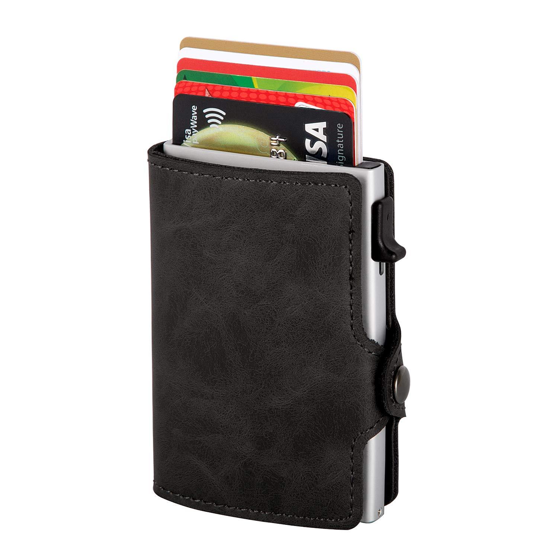 Kartenetui | Kreditkartenetui mit Geldklammer | Kreditkarten etuis | Leder Geldbö rse Slim Wallet Portmonee | Geldbeutel mit RFID Schutz