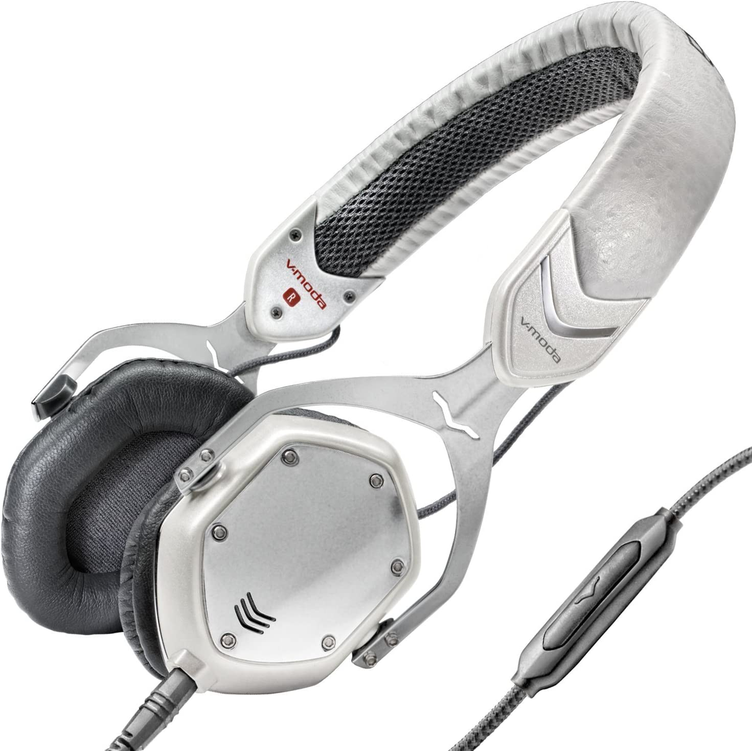V-MODA Crossfade M-80 Vocal On-Ear Noise-Isolating Metal Headphone, White Silver