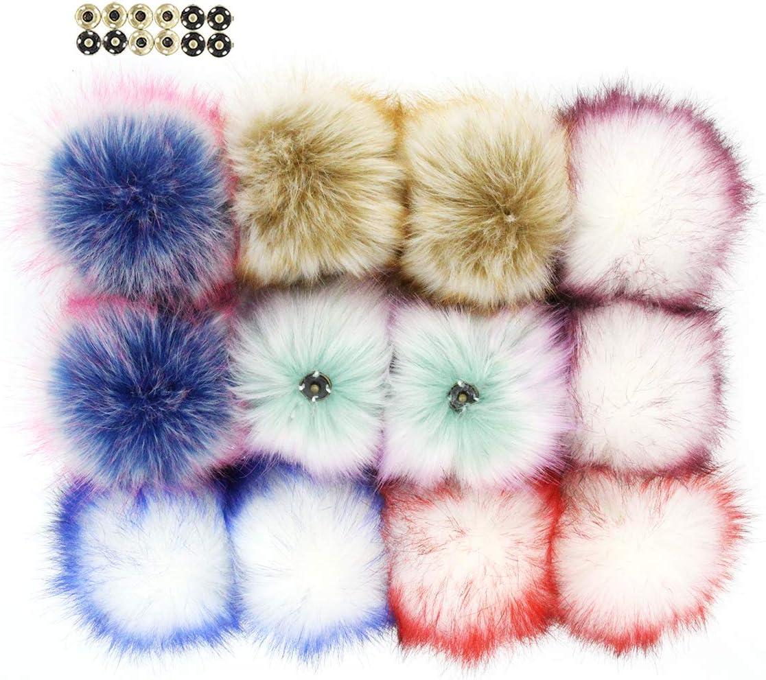 12cm Faux Fox Fur Pom Pom with Press Button Fake Fur Hat Bubble Removable DIY bs