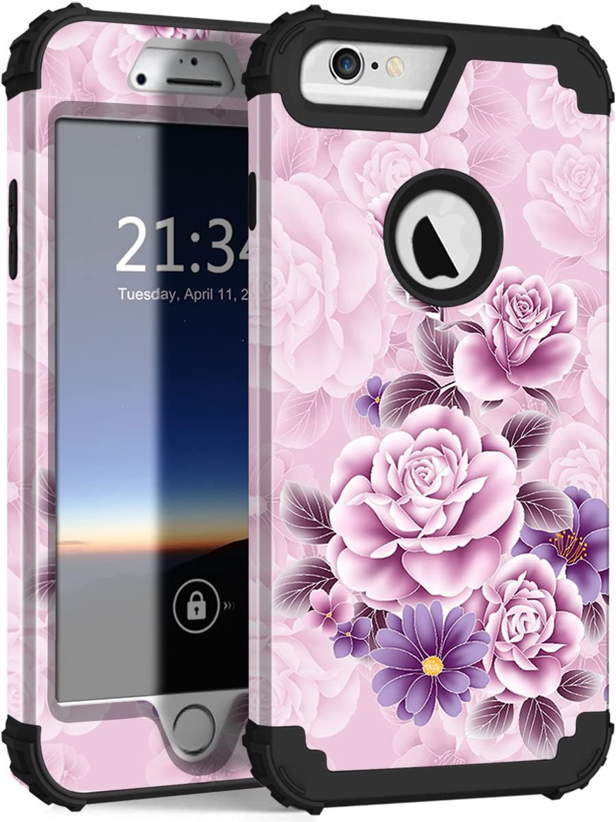 "Hocase iPhone 6s Plus Case, iPhone 6 Plus Case, Heavy Duty Shockproof Protection Hard Plastic+Silicone Rubber Protective Case for iPhone 6 Plus/6s Plus w/ 5.5"" Display - Light Pink/Purple Flowers"