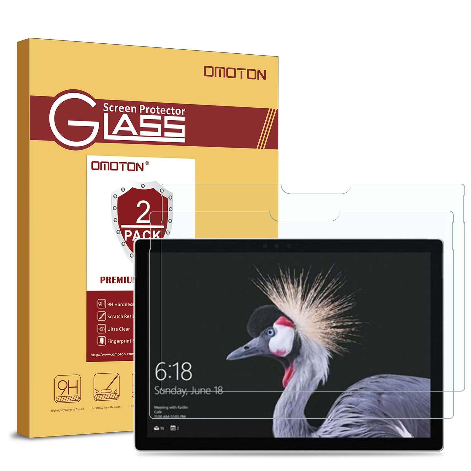 [2-Pack] New Surface Pro 2017/Surface Pro 4 Screen Protector - OMOTON Tempered Glass Screen Protector with [High Responsivity] [Scratch Resistant] [Bubble Free] [High Definition]