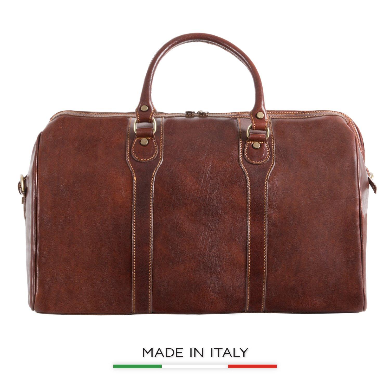 Image of Alberto Bellucci Italian Leather Carry-on Traveler Duffel Bag Luggage