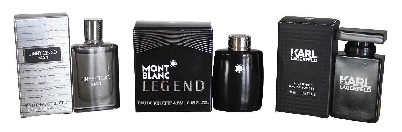 Confezione con profumi in miniatura da 4,5ml, da uomo,3articoli,Jimmy Choo, Mont Blanc, Karl Lagerfeld 5ml 3articoli Jimmy Choo homeshop3000