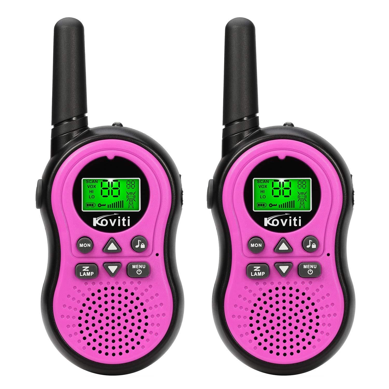 Koviti Kids Walkie Talkies 2 Way Radio 22 Channel Range Up to 3Miles UHF Walky Talkies Interphone Toy Gift for Kids (Pink,2 Pack) by Koviti (Image #1)