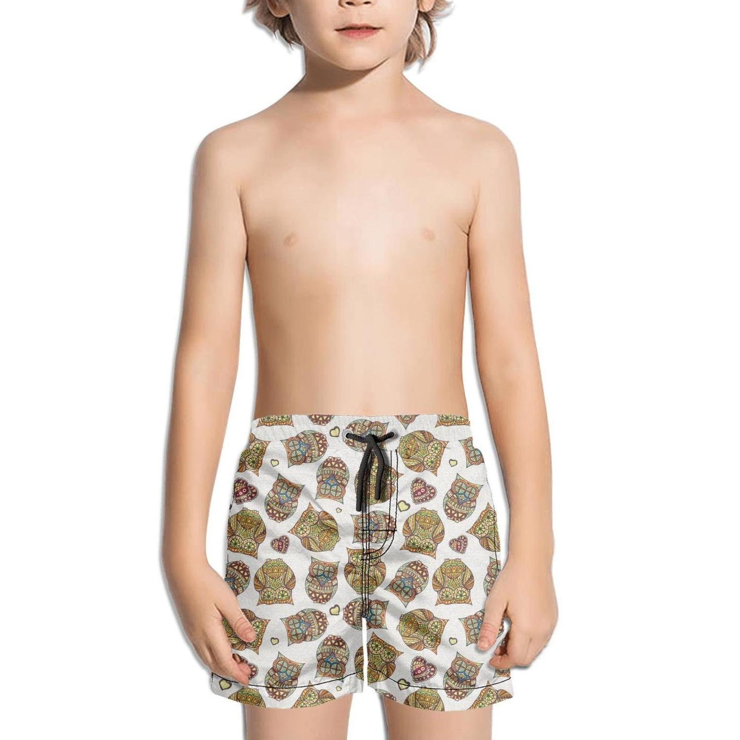 Cute Vintage Barred owl Love Quick Dry Boys¡¯ Beach Board Shorts by truye rrelk (Image #1)