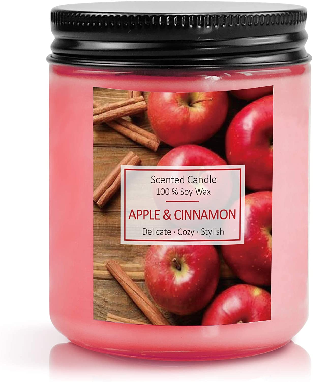 SnailDigit Large Jar Sweet Fall Scented Candle for Home Cinnamon & Apple Aromatherapy Candle Soy Wax Candle for Christmas
