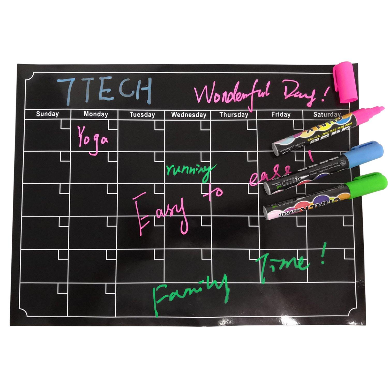 "7TECH Magnetic Calendar Board Dry Erase Calendar Monthly Fridge Calendar Board for Refrigerator, Kitchen Planning Board, Easy to Write&Erase, Strong Magnet, 16""x12"", Black"