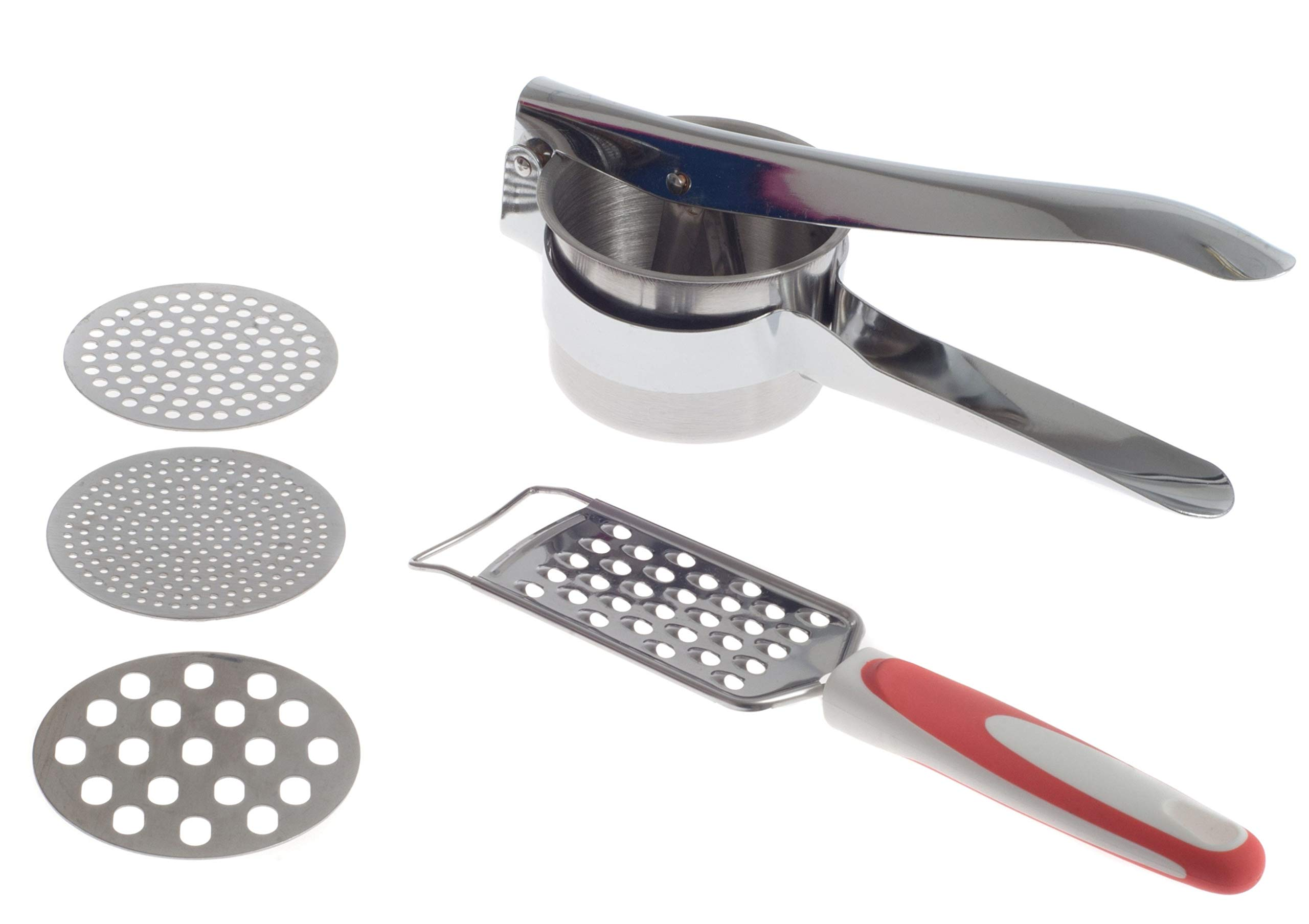 Zujara Potato Ricer Masher Set with Grater in Stainless Steel with 3 Interchangeable Disks, also use as  Fruit Press,  Baby Food maker, for Vegetable or Cauliflower Puree, Gnocchi and Spaetzle  by ZUJARA