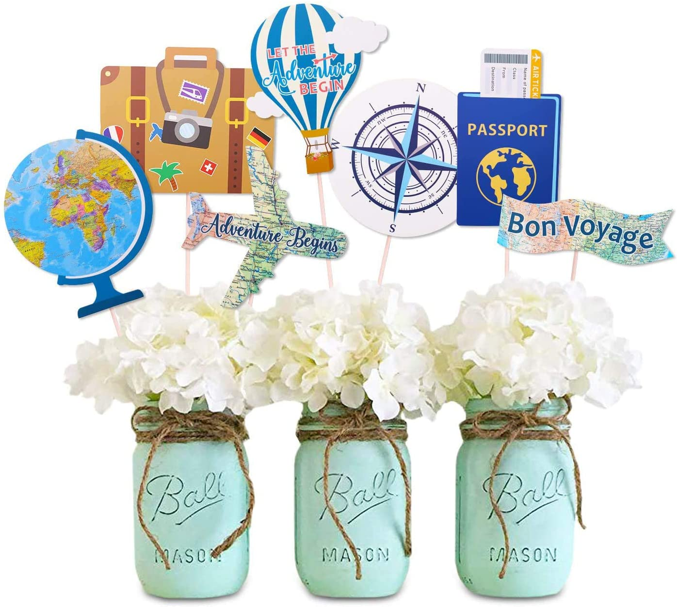 Let the Adventure Begin Centerpieces Travel Themed Centerpieces Sticks Adventure Awaits Bon Voyage Farewell World Map Retirement Graduation Party Photo Booth Props Set of 21