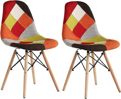 4er Set Stuhle Holzbeinen Nordic Esszimmerstühle Stuhl Patchwork Schwarz Grau
