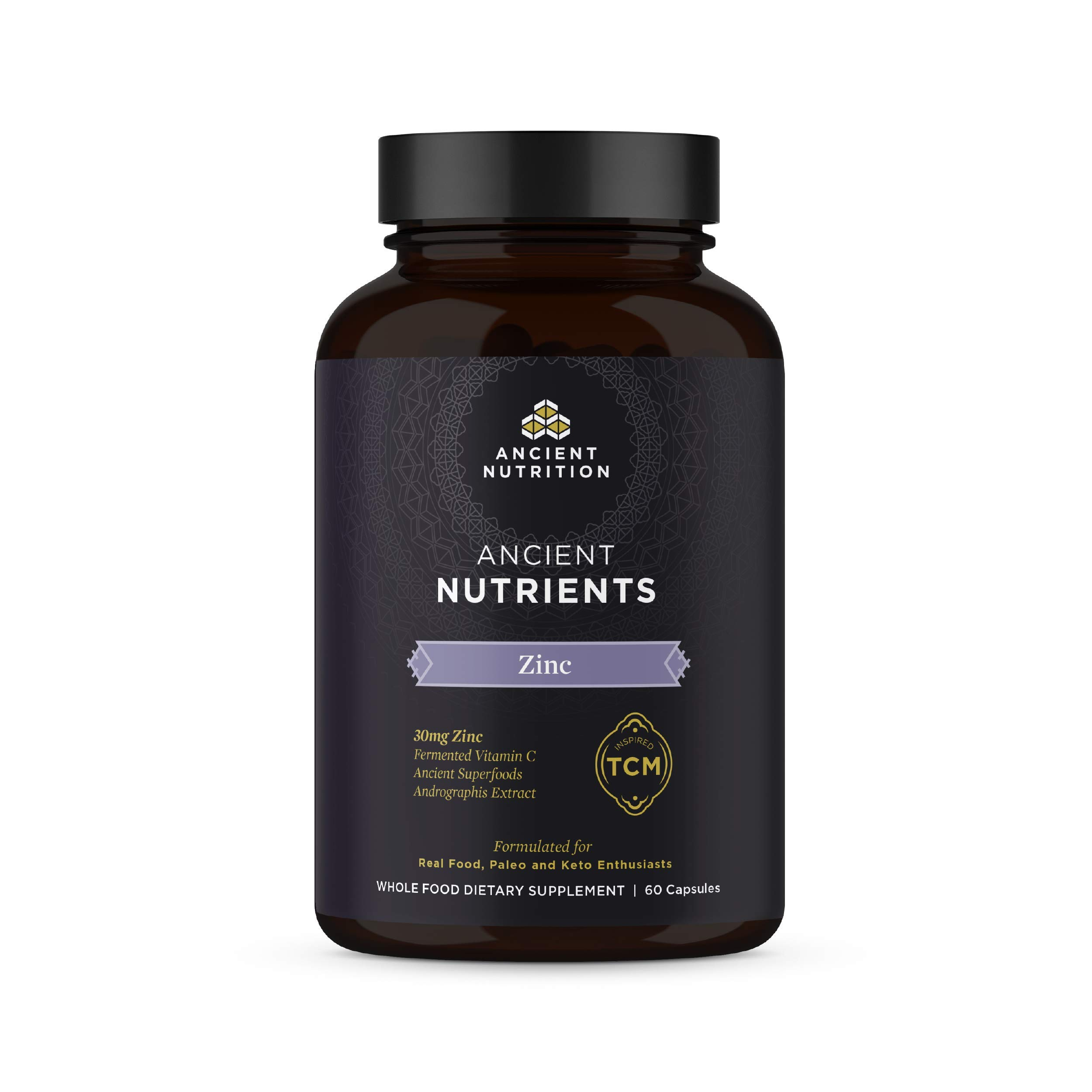 Ancient Nutrition, Ancient Nutrients Zinc - 30mg Zinc, Adaptogenic Herbs, Enzyme Activated, Paleo & Keto Friendly, 60 Capsules