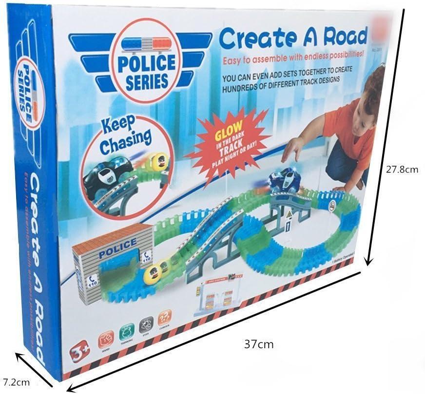 CHUANG FENG Pista de Coches de Polic/ía Electrico Juguete de Construccion Juegos Educativos para Ni/ños 3 4 5 A/ños