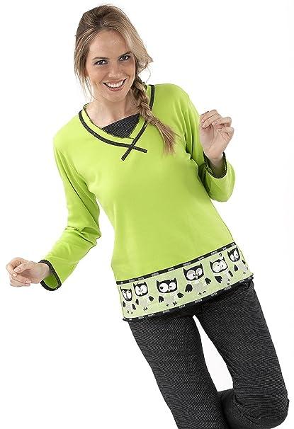 Pijama Massana de Mujer Espesor de Fino a Medio Verde Pistacho Con Buhos P641242 Talla XL