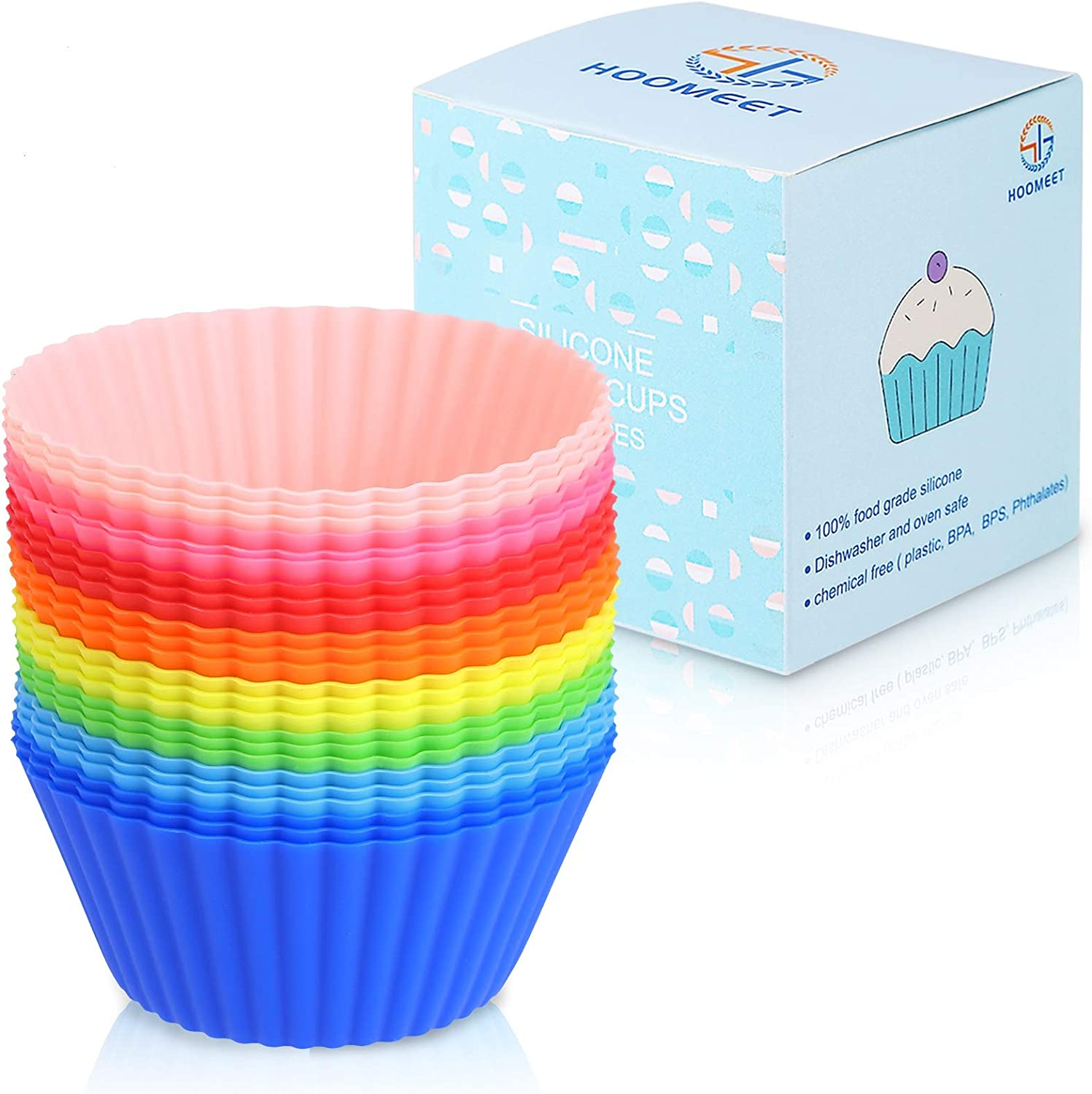 HOOMEET 24 Pack 100% Food Grade Silicone Muffin Liners, Non-Stick Cupcake Baking Cups, Cupcake Liners for Baking, Silicone Molds, Reusable Cupcake Liners, Red Blue Green Yellow Pink Orange Color