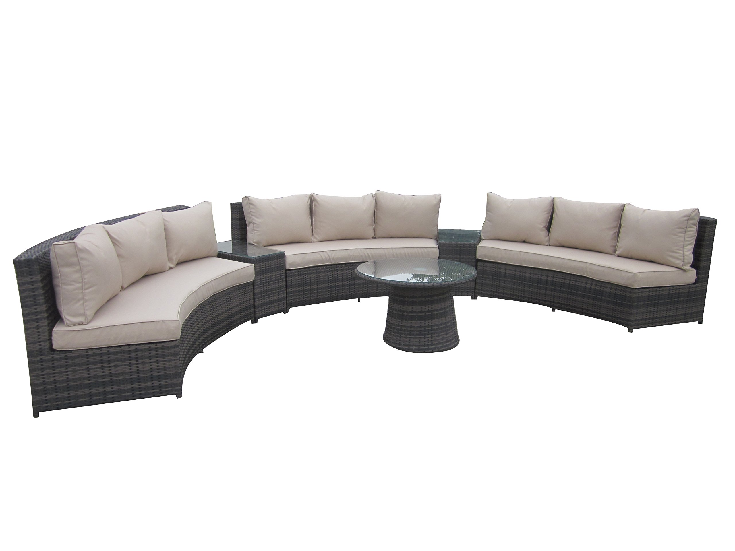 6 Piece Conversation Set,Half Moon Rattan Sofa Set - Taupe - Aluminum frame: resist warping, twisting, and rust; plus they're lightweight and easily portable Polyethylene rattan: designed to look like beautiful hand woven wicker, these frame exteriors also resist UV and moisture damage Polyester cushions: 10cm thick, foam-filled for comfort, resistant to fade and moisture - patio-furniture, patio, conversation-sets - 71hV47UL8vL -