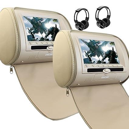 7 Inch Beige Dual DVD USB SD Car Headrest Monitors LCD Display Digital Screen