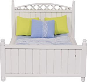 Inusitus Dollhouse Wooden Queen Bed - Miniature Furniture with Bedding and Pillows for The Dolls House - 1/12 Scale (White Wood)
