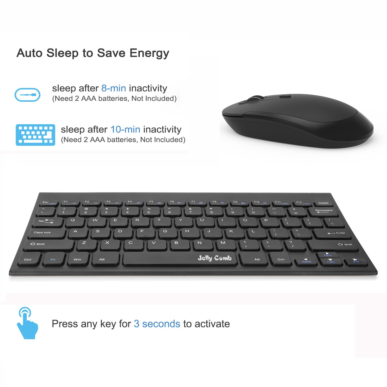 Wireless Keyboard Mouse, Jelly Comb 2.4GHz Ultra Thin Compact Portable SMALL Wireless Keyboard and Mouse Combo Set for PC, Desktop, Computer, Notebook, Laptop, Windows XP/Vista / 7/8 / 10 - Black by Jelly Comb (Image #4)