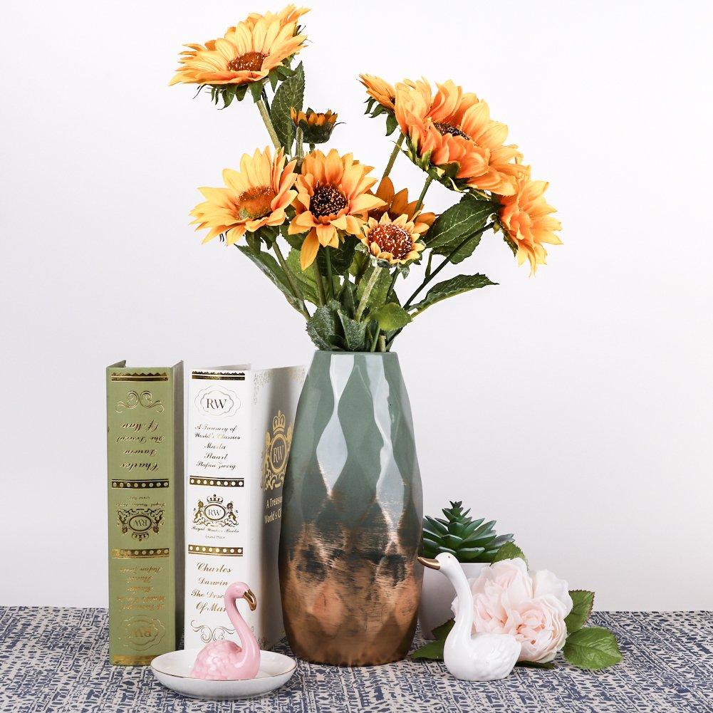 Hannahs Cottage Grün Gold Keramik Vase Kleine Blumenvase Moderne Farbe  Tischvase Blumen Pflanzen Tischdeko Keramikvase Deko Garten Dekoration ...