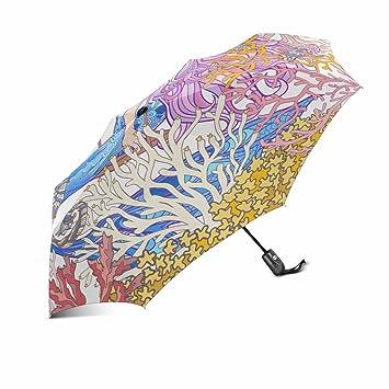 InterestPrint – Paraguas de viaje irrompible con diseño de sirena de dibujos animados con concha de