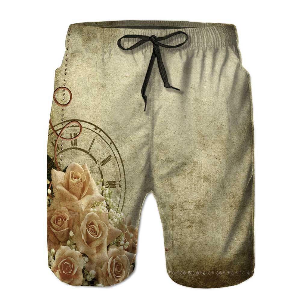 PRUNUS® Men's Beach Board Shorts,Wedding Vintage Romantic backgrou with Mesh Lining