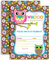 Amazon birthdayexpress owl blossom party supplies invitations owl themed birthday party celebration invitations ten 5x7 fill in cards with 10 filmwisefo