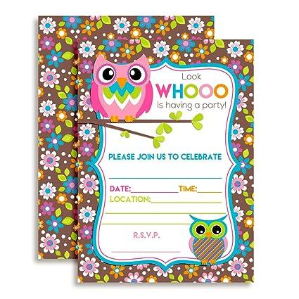 Amazon owl themed birthday party celebration invitations ten 5 owl themed birthday party celebration invitations ten 5quotx7quot fill in cards with 10 filmwisefo