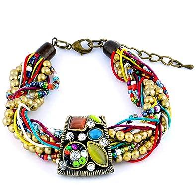 Bracelet multi,rangs , Bijou fantaisie bohème , Mosaïque , Multicolore ,  Chic , Cadeau