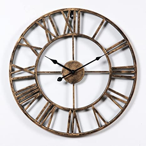 LEI ZE JUN UK- Reloj de pared Vintage diseño de números romanos Estilo rústico de