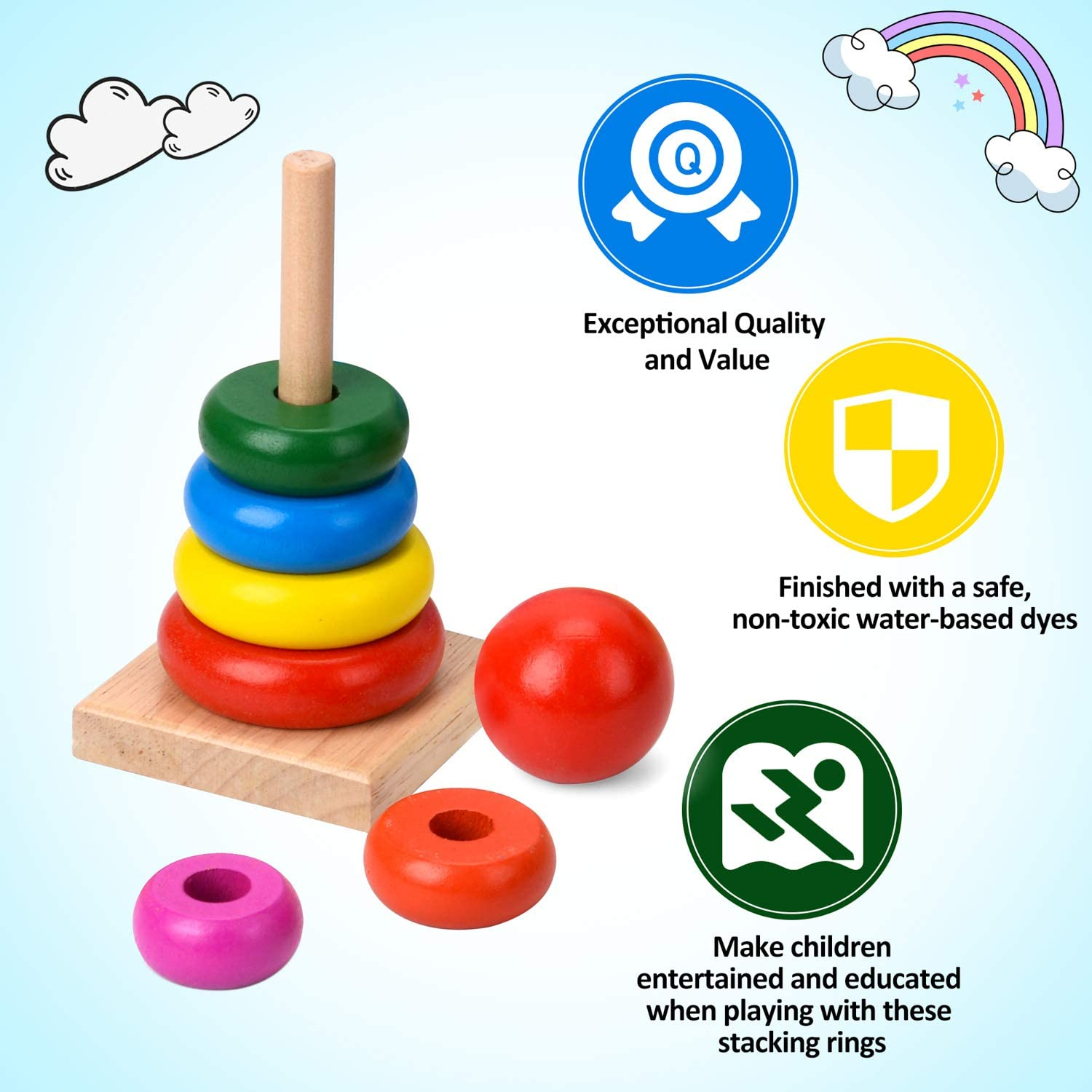 Small Drop Sensory Baby Month Education Training Coin Ball Montessori Object Permanence Box /& Rainbow Stacker Toy Gift Set Wooden for Babies /& Toddler